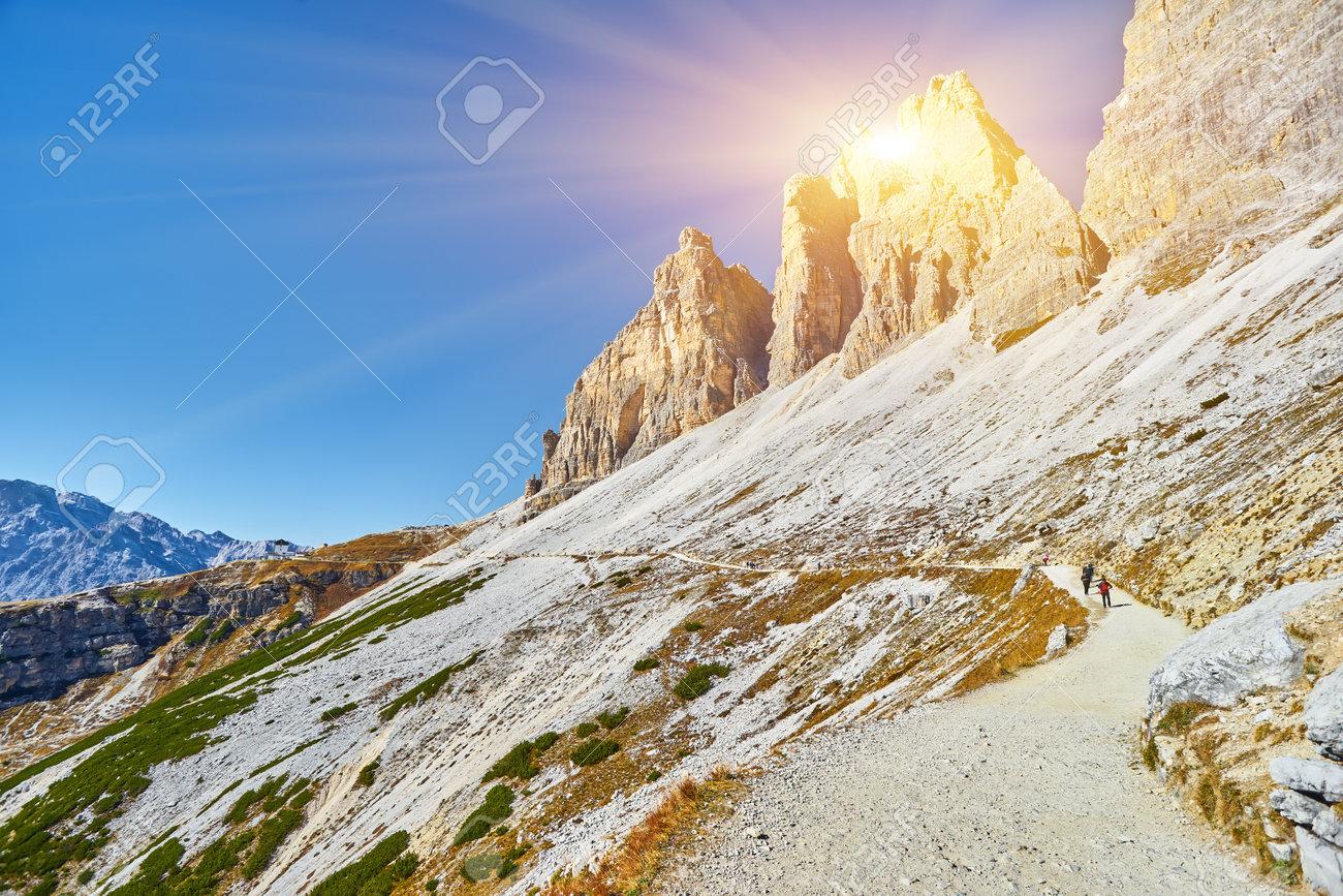 Autumn landscape at Tre Cime di Lavaredo in the Italian Alps - 173010833