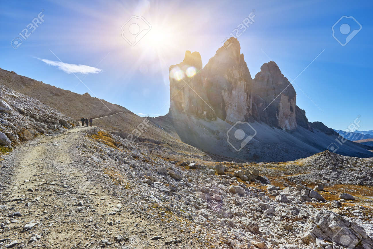 Autumn landscape at Tre Cime di Lavaredo in the Italian Alps - 173010877