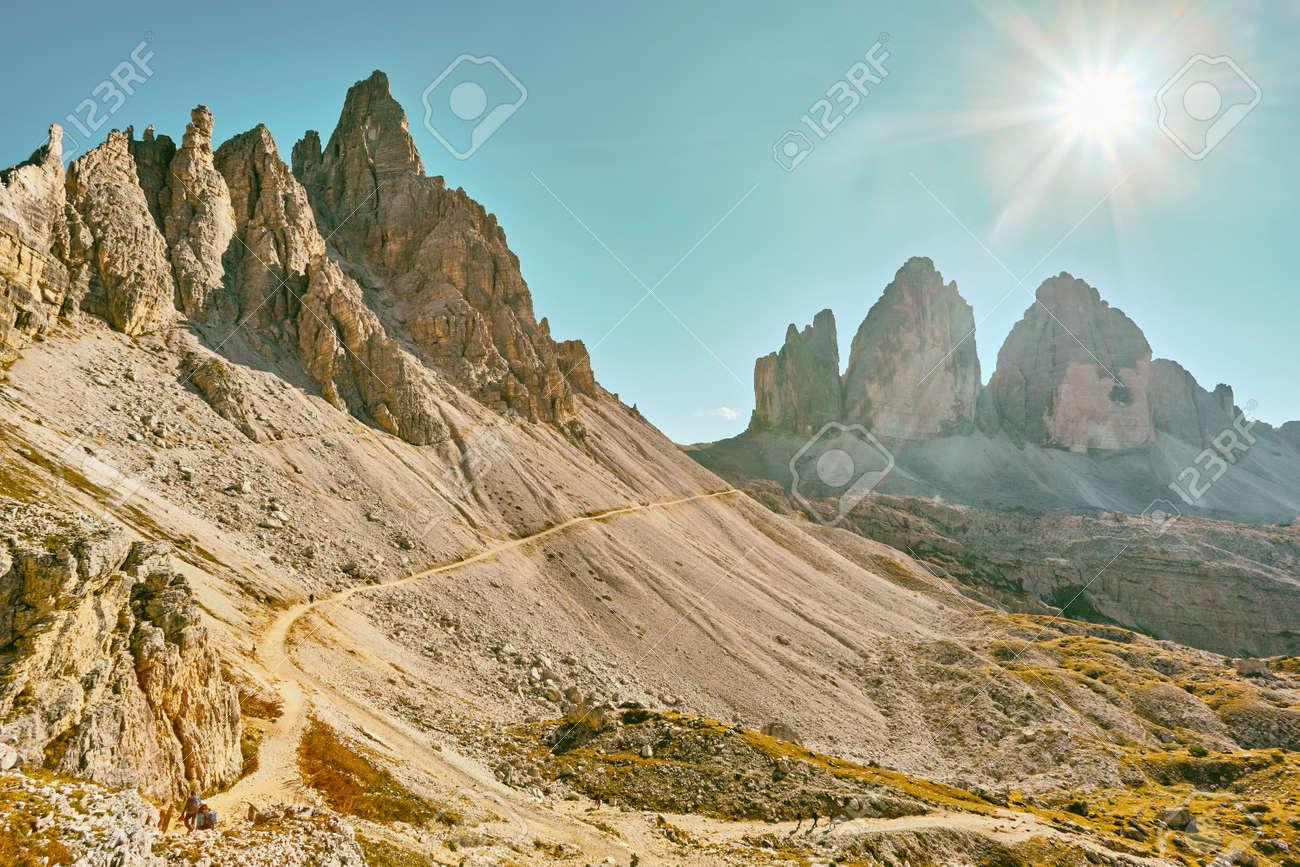 World famous peaks of Tre Cime di Lavaredo National park, site in Dolomites, Italy - 173010921