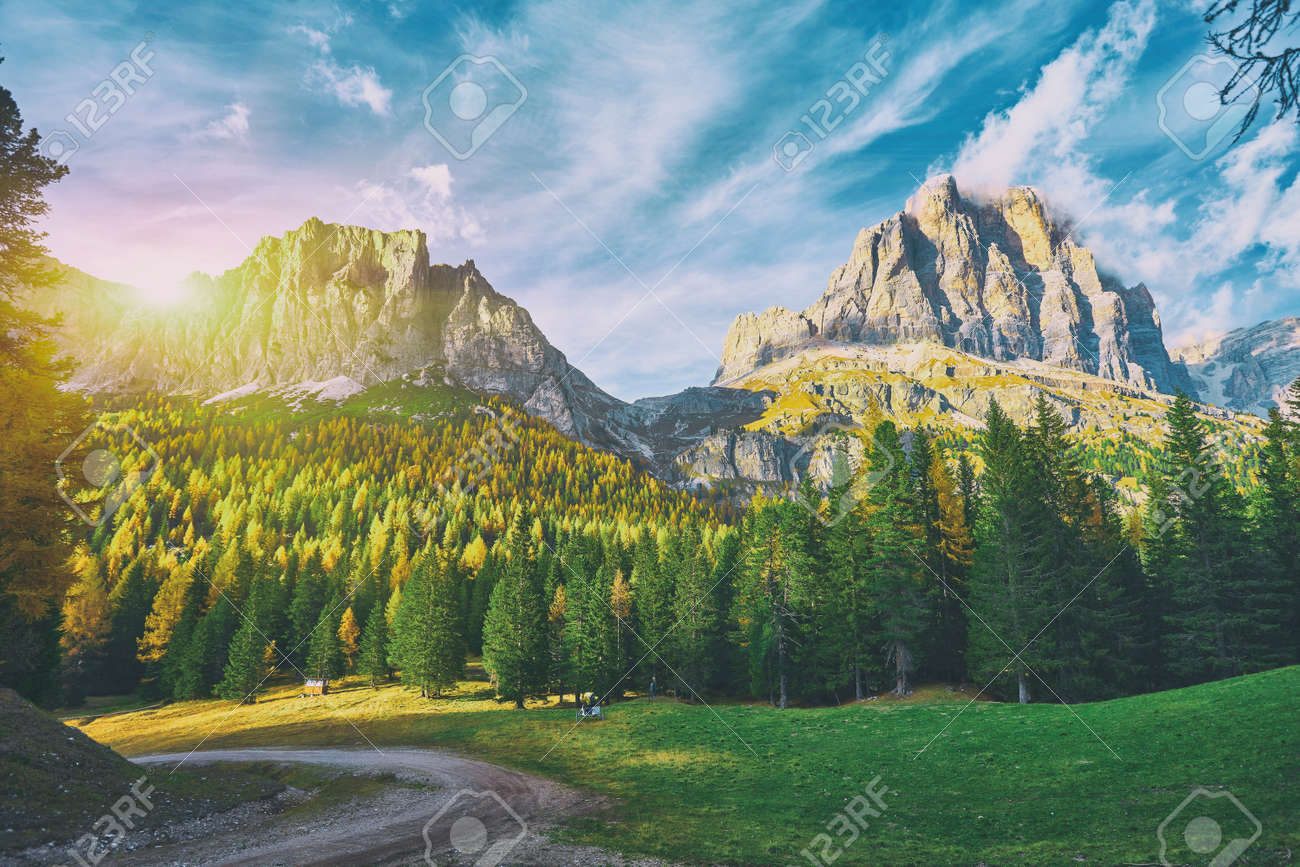 View of Tofane mountains seen from Falzarego pass in an autumn landscape in Dolomites, Italy. Mountains, fir trees and above all larches that change color assuming the typical yellow autumn color - 173010931