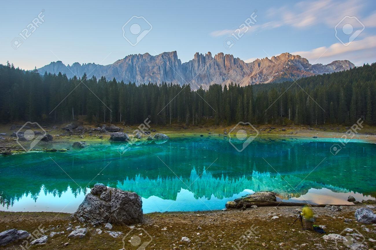 Carezza lake Lago di Carezza, Karersee with Mount Latemar, Bolzano province, South tyrol, Italy. Landscape of Lake Carezza or Karersee and Dolomites in background, Nova Levante, Bolzano, Italy. - 173010934
