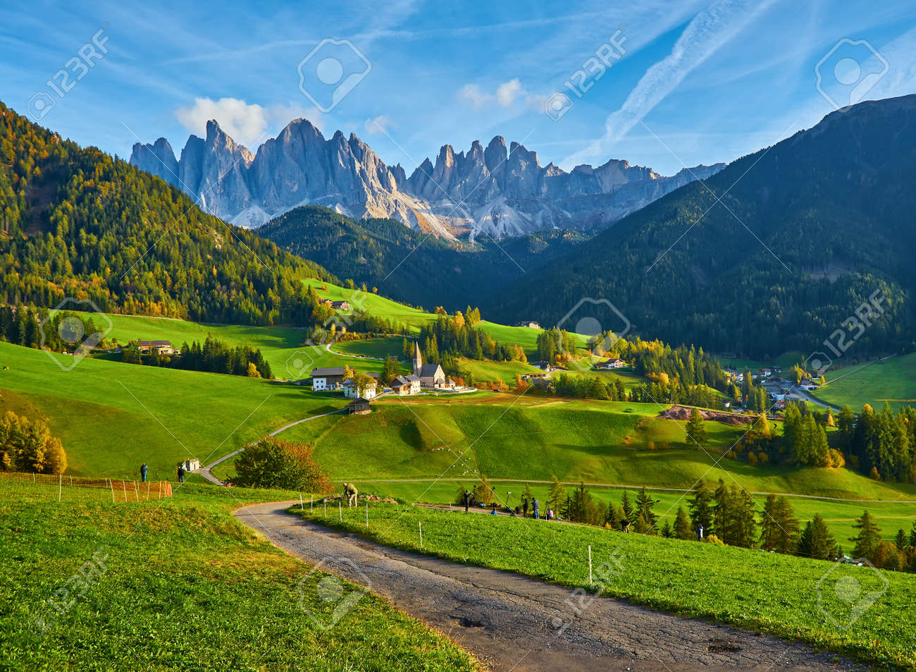 Famous best alpine place of the world, Santa Maddalena village with magical Dolomites mountains in background, Val di Funes valley, Trentino Alto Adige region, Italy, Europe - 173011253