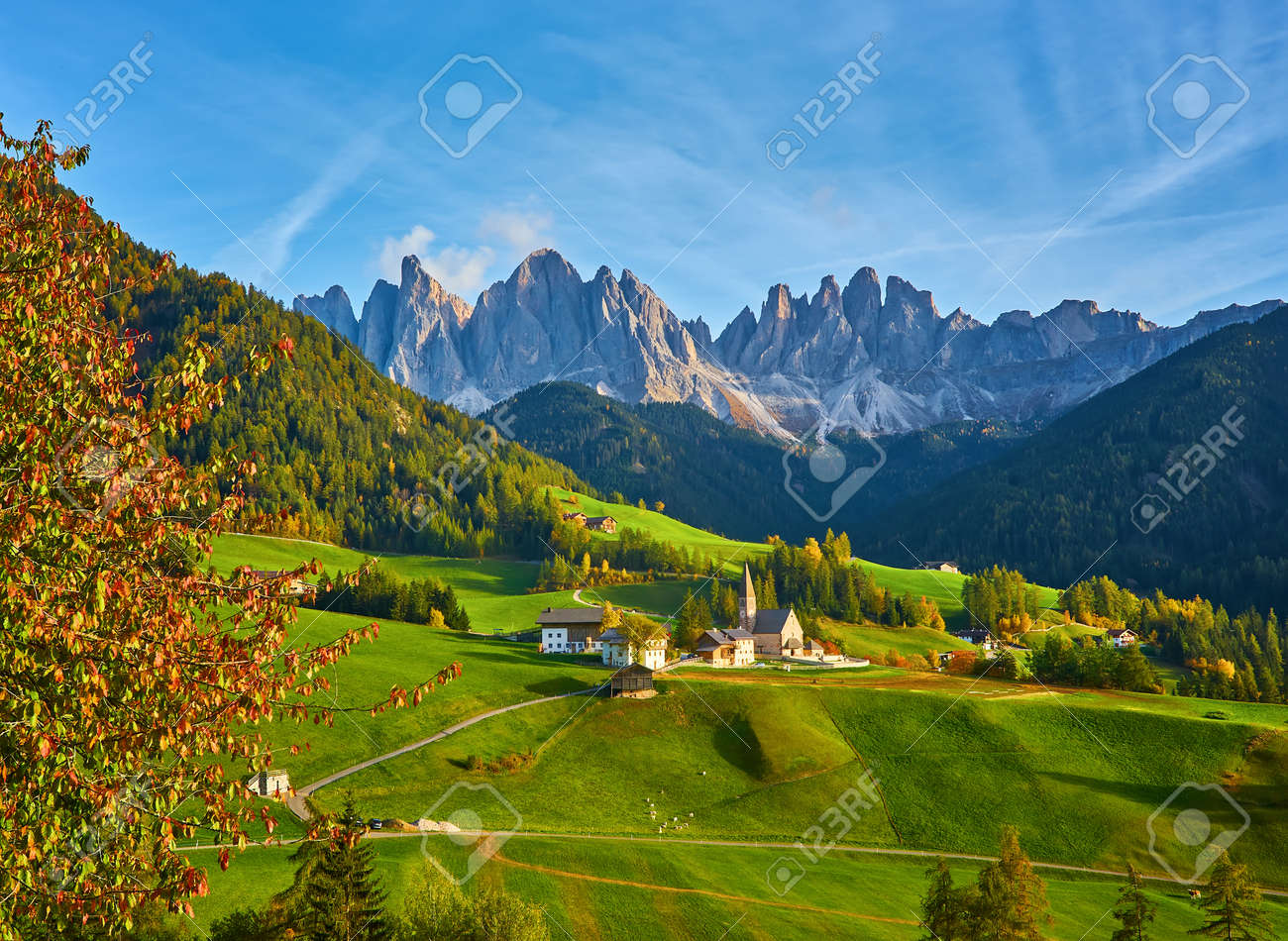 Famous best alpine place of the world, Santa Maddalena village with magical Dolomites mountains in background, Val di Funes valley, Trentino Alto Adige region, Italy, Europe - 173011257
