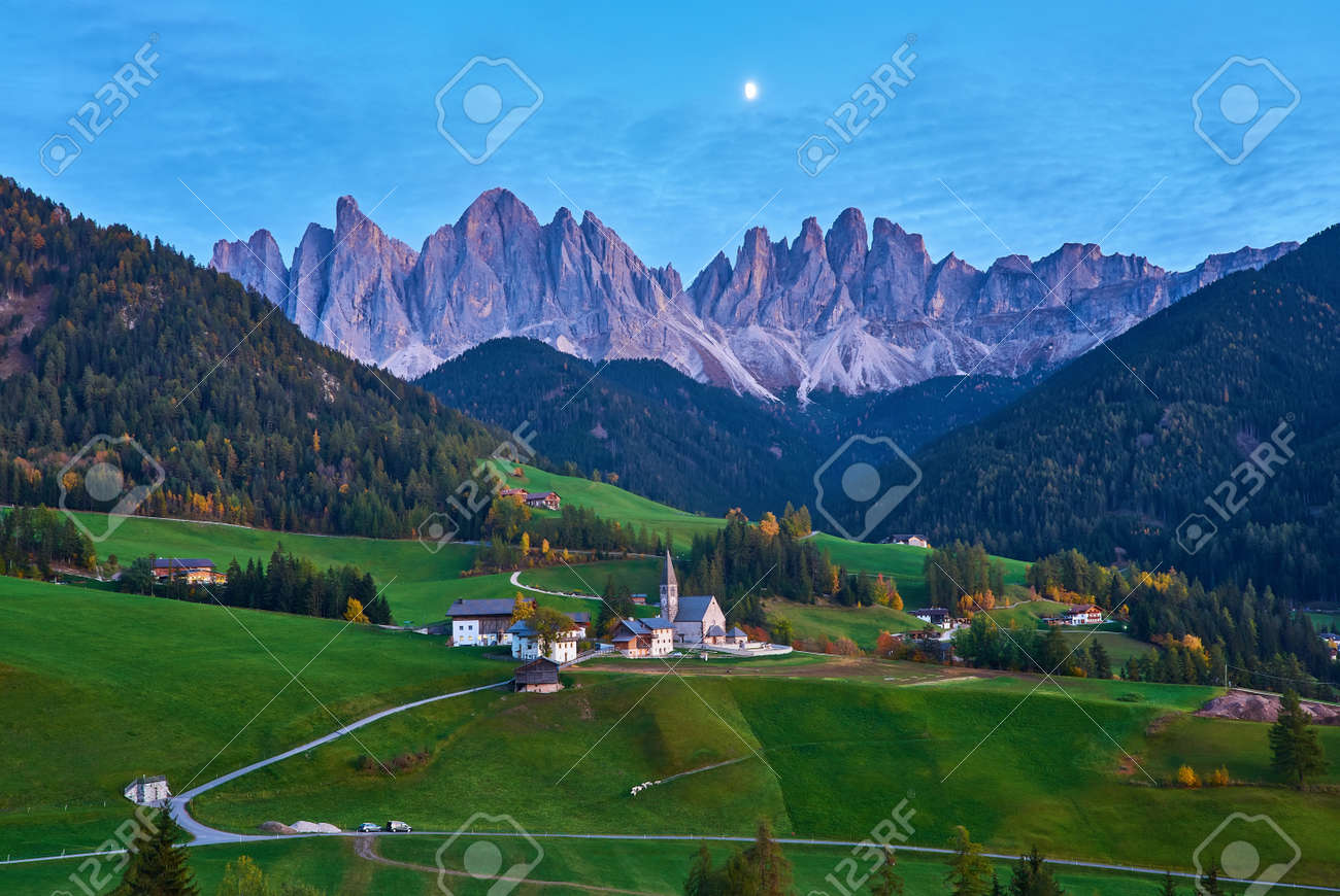 Famous best alpine place of the world, Santa Maddalena village with magical Dolomites mountains in background, Val di Funes valley, Trentino Alto Adige region, Italy, Europe - 173011319