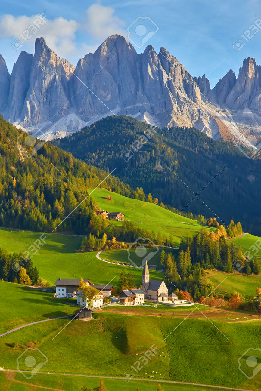 Famous best alpine place of the world, Santa Maddalena village with magical Dolomites mountains in background, Val di Funes valley, Trentino Alto Adige region, Italy, Europe - 173011395
