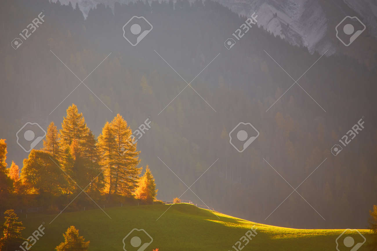 Amazing autumn scenery in Santa Maddalena village with church, colorful trees and meadows under rising sun rays. Dolomite Alps, South Tyrol, Italy. - 172910854