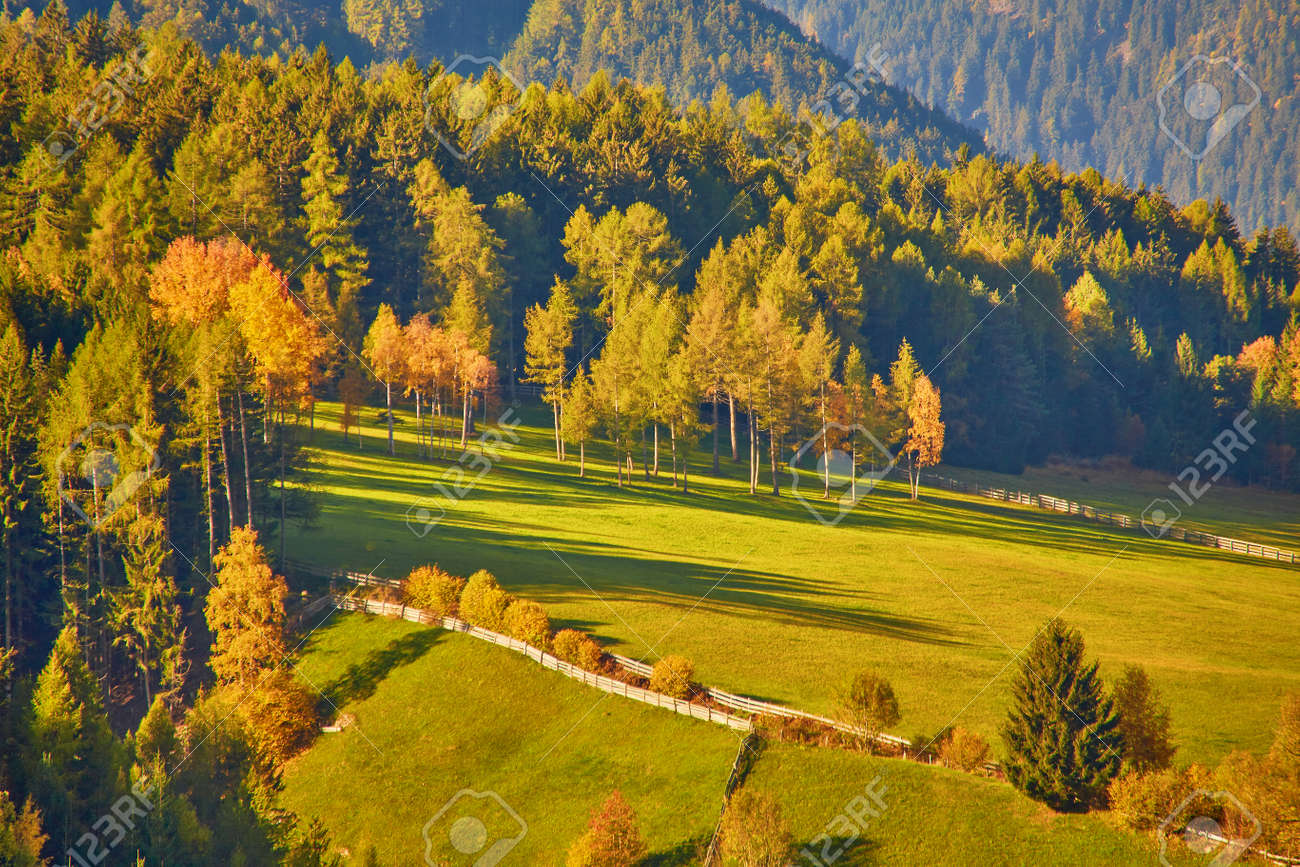 Amazing autumn scenery in Santa Maddalena village with church, colorful trees and meadows under rising sun rays. Dolomite Alps, South Tyrol, Italy. - 172911309