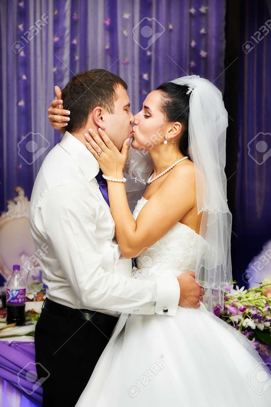 Romantic Kiss Bride And Groom In Wedding Day Stock Photo, Picture ...