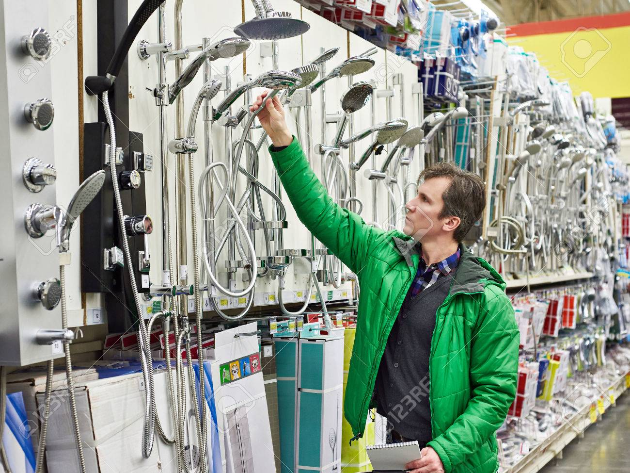 Man Shopping For Bathroom Equipment In Diy Shop Stock Photo Picture Electrical Wiring 37772243