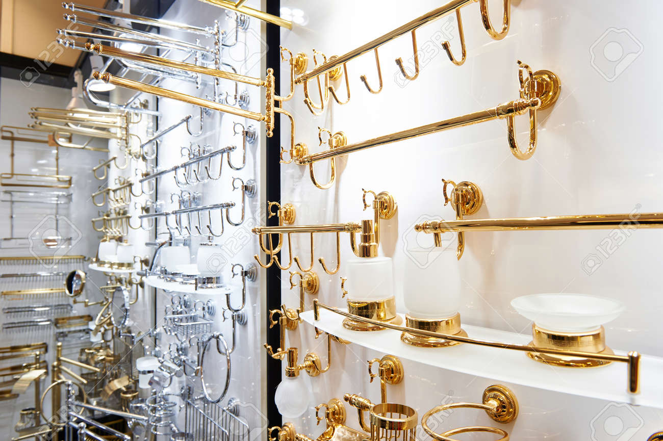 Bathroom Accessories.Bathroom Fittings And Accessories In The Store Stock Photo