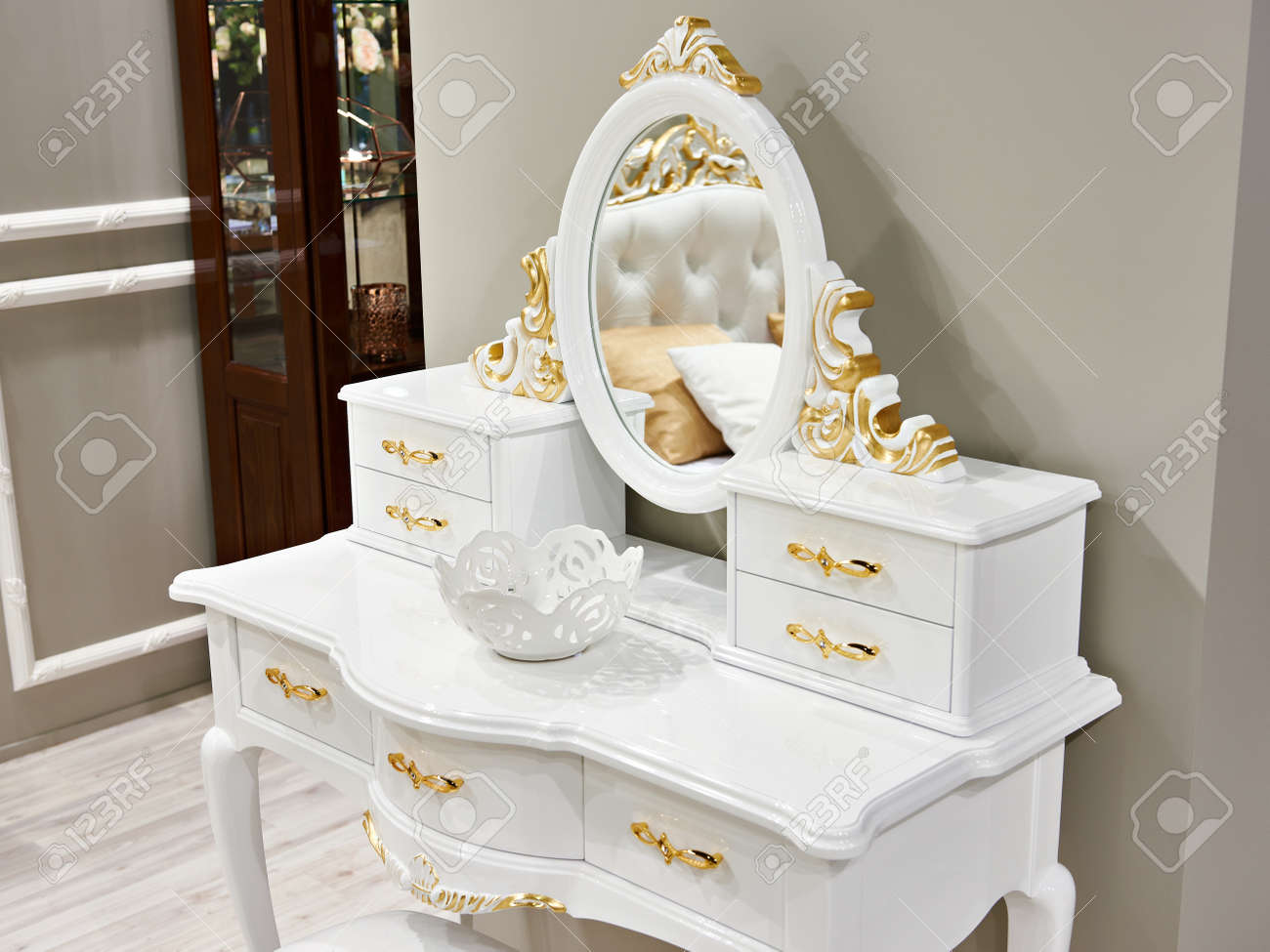 Vintage White Gold Interior Dressing Table Stock Photo Picture And Royalty Free Image Image 95999507