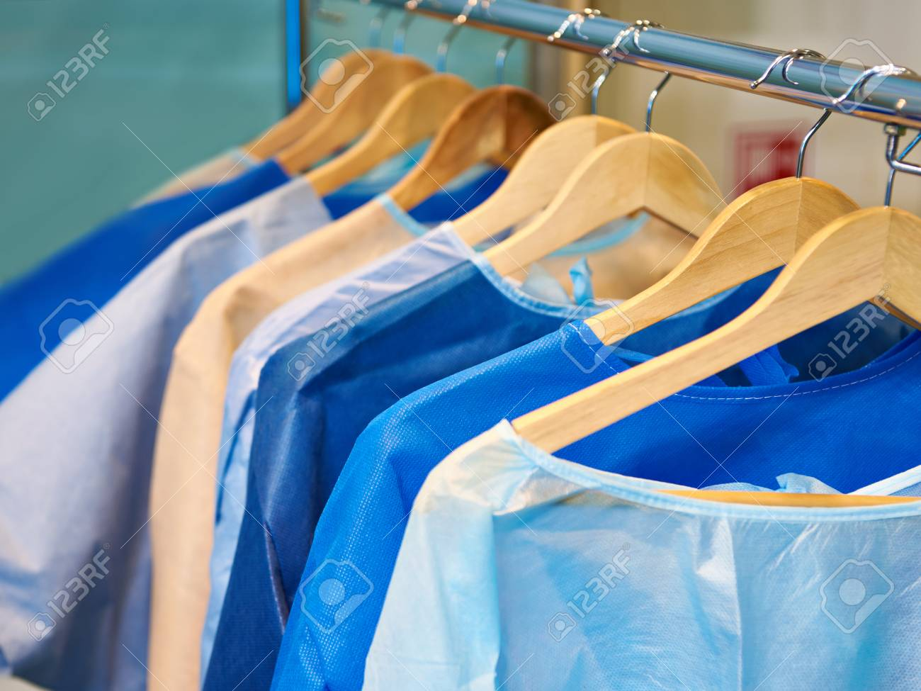 One-time Medical Surgical Gowns On Hangers Stock Photo, Picture And ...