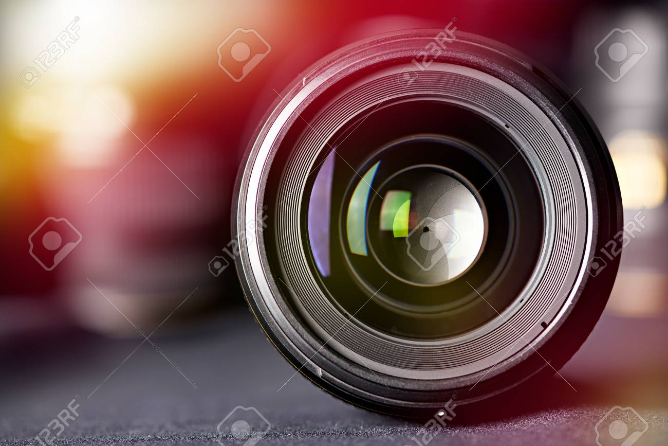 Photo lens front view on blurred background - 111336112