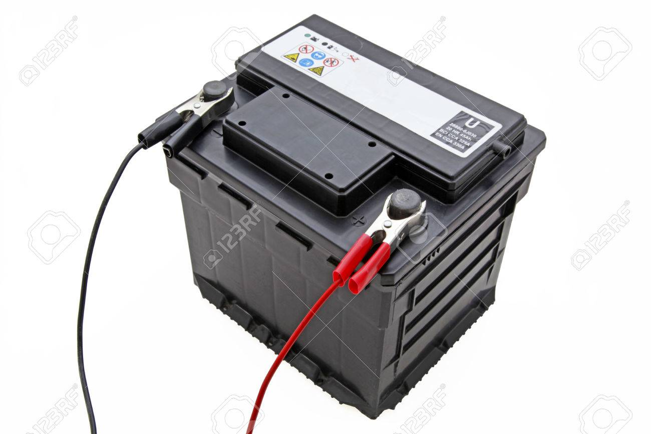 Car Battery An Isolated Car Battery On White Background With