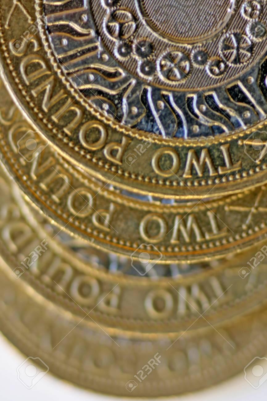 Zwei Pfund Münze Eine Draufsicht Schließen Mit Allmählicher