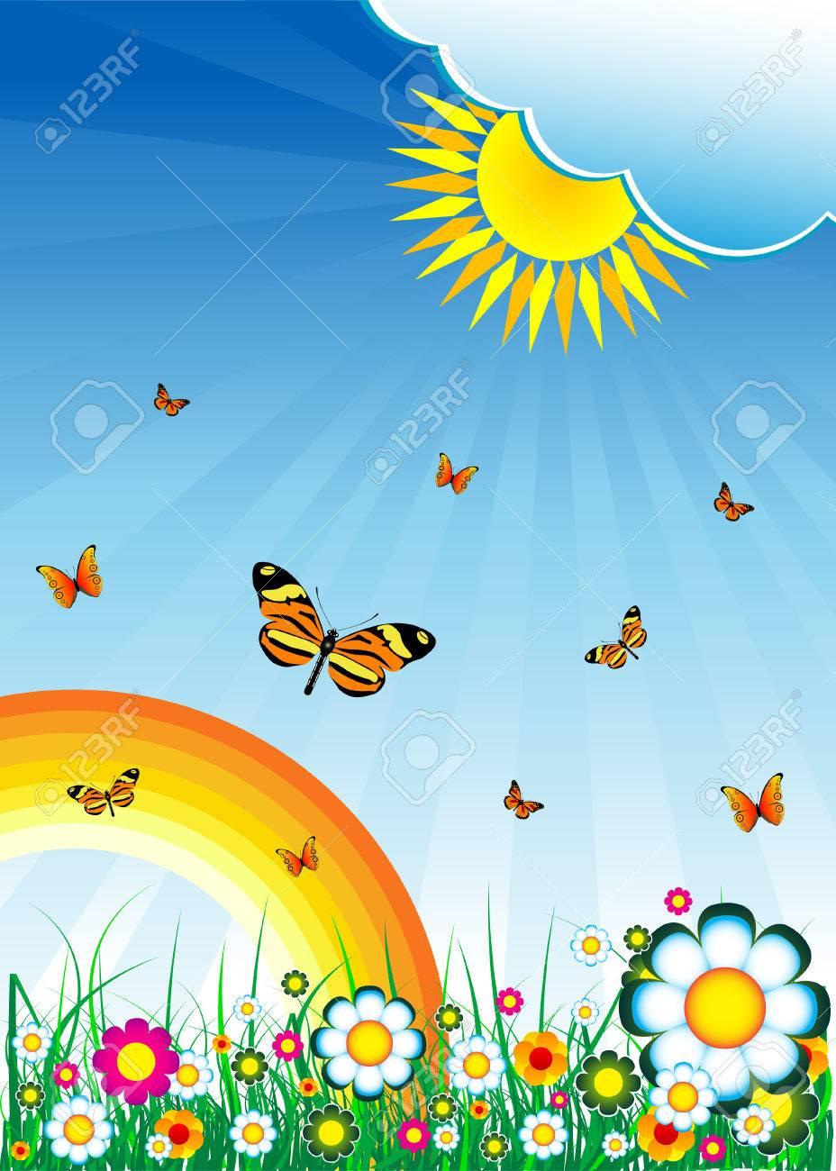 Flowers, sky, sun, rainbow and grass Stock Vector - 4172817