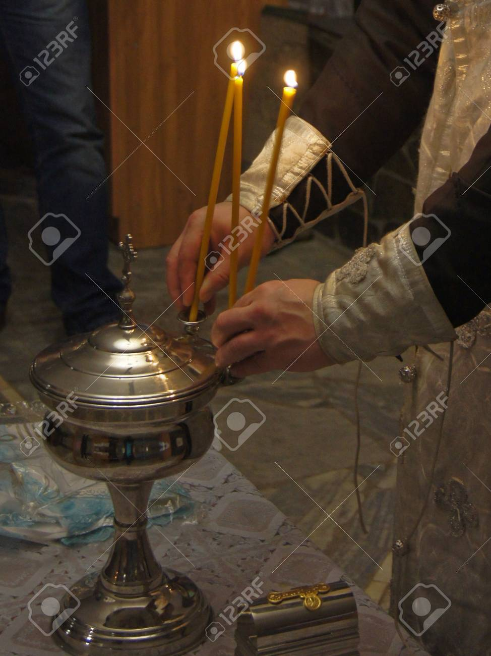 the sacrament of baptism in the Orthodox Church Stock Photo - 13258776