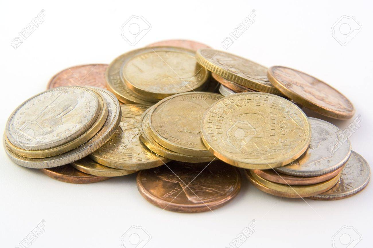 Coins isolated on white background Stock Photo - 5737519