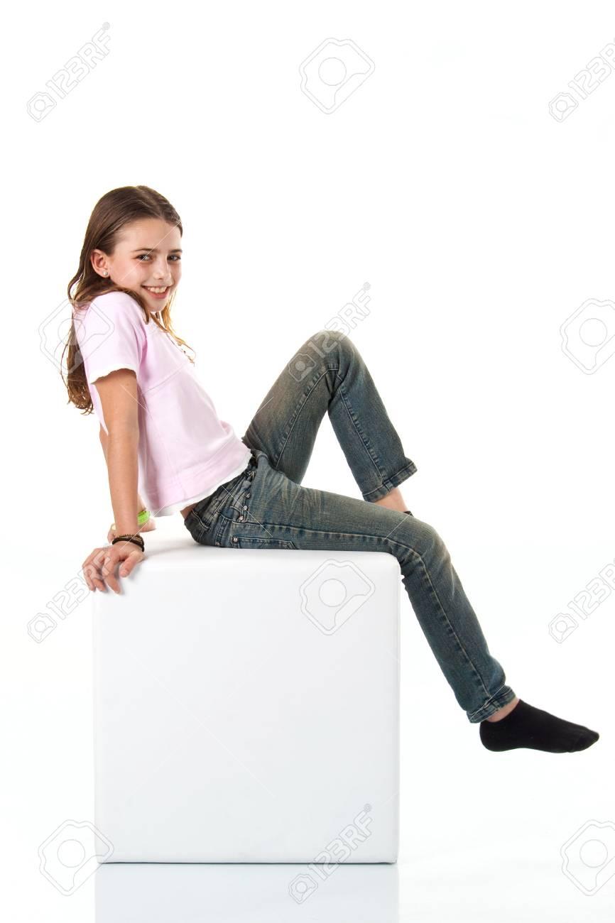 Beautiful girl isolated on white background Stock Photo - 6633335