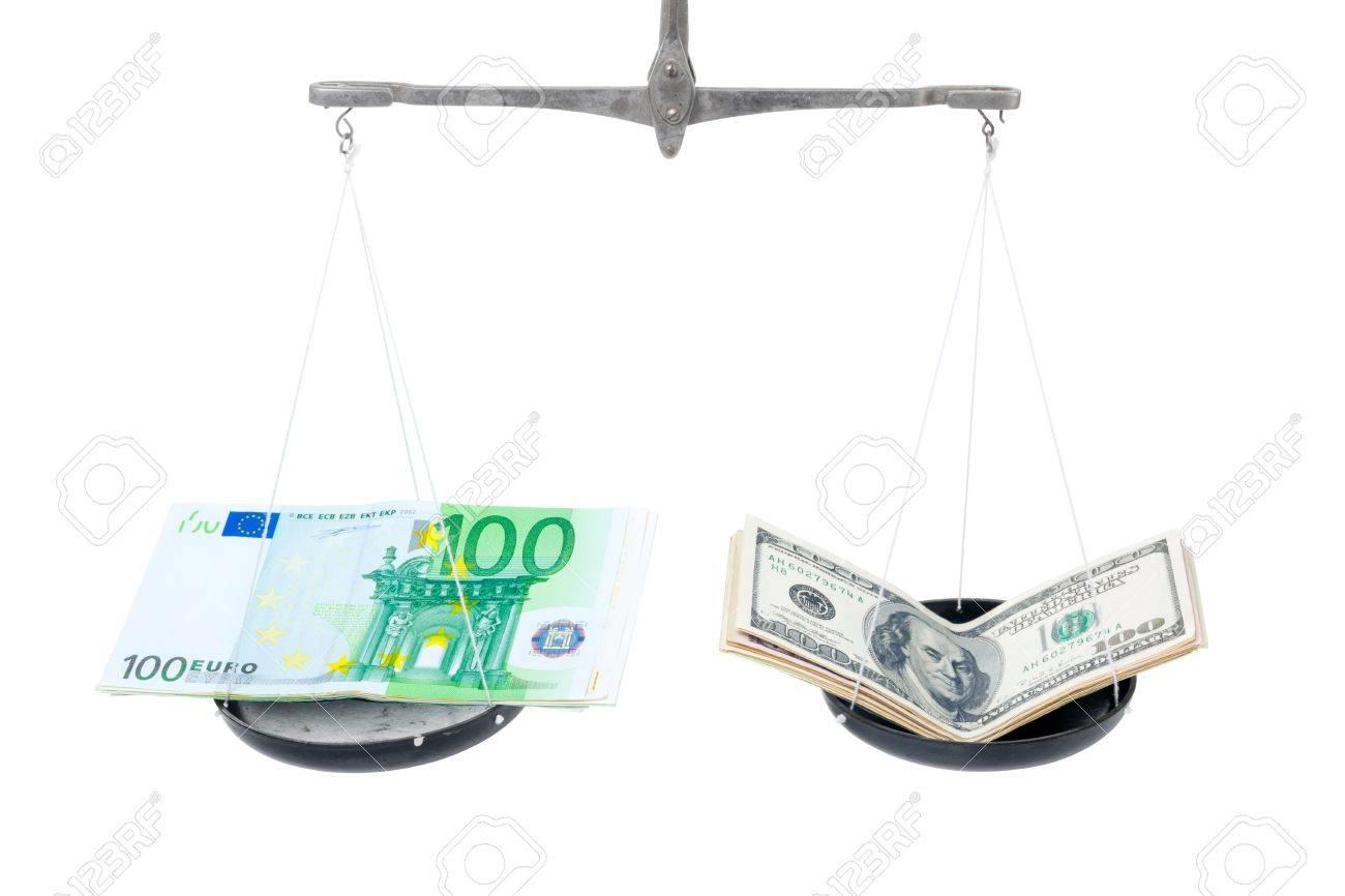 Money on balanced weight isolated on white background Stock Photo - 10393894