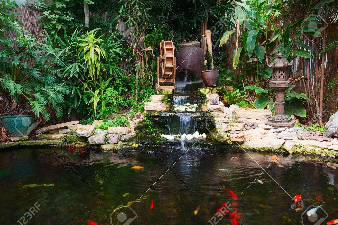 Natural Decorative Pond With Fountain And Gold Fish