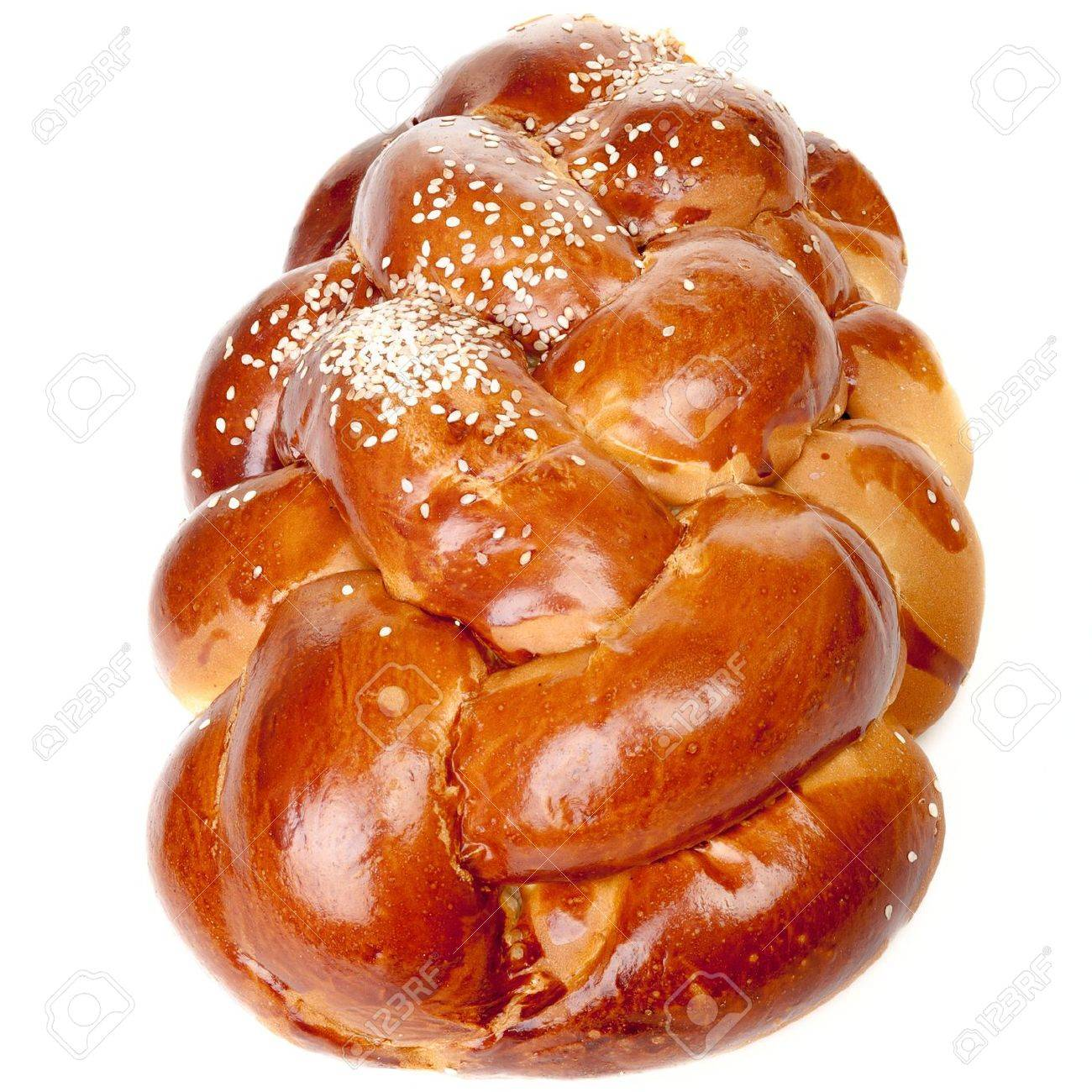 Sabbath challah with white seed isolated on white background Stock Photo - 17595923
