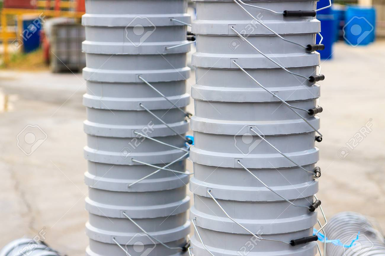 Stack of gray buckets Stock Photo - 28233040