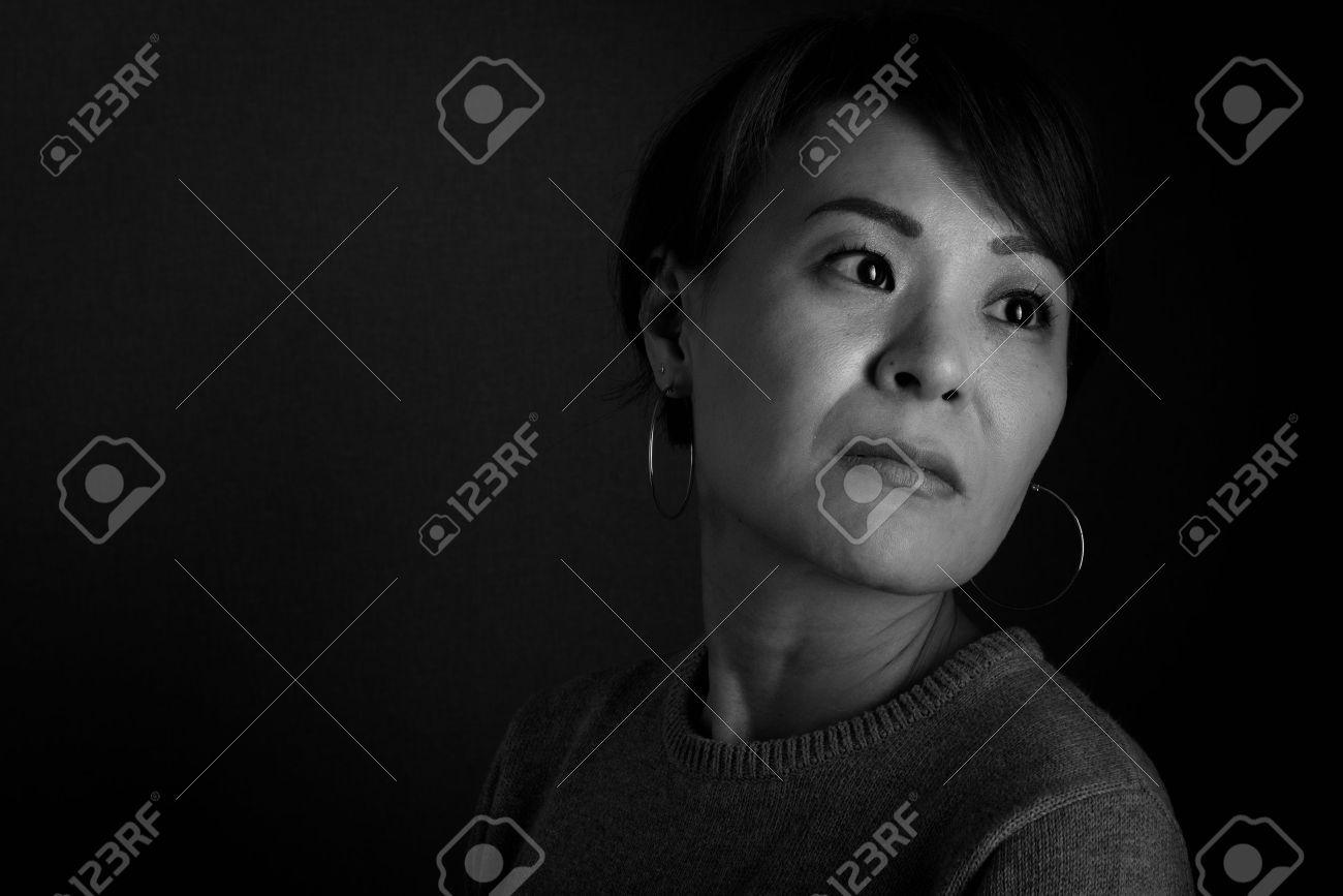 Sad black and white photography women