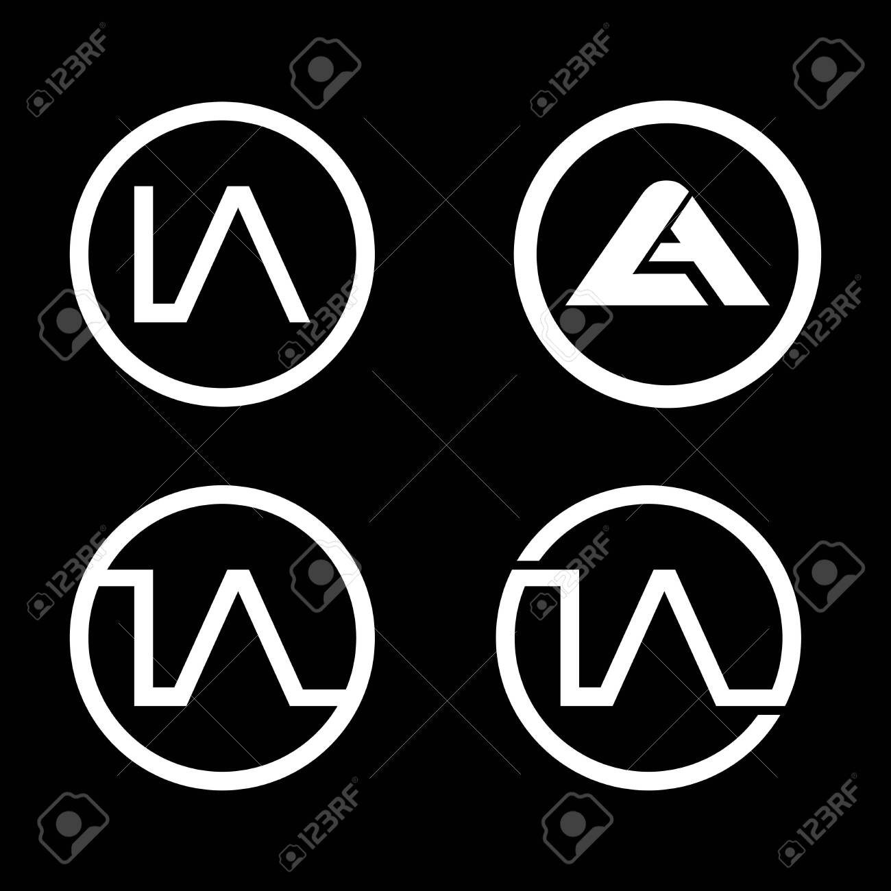 circle letter LA logo template bundle set - 144011355