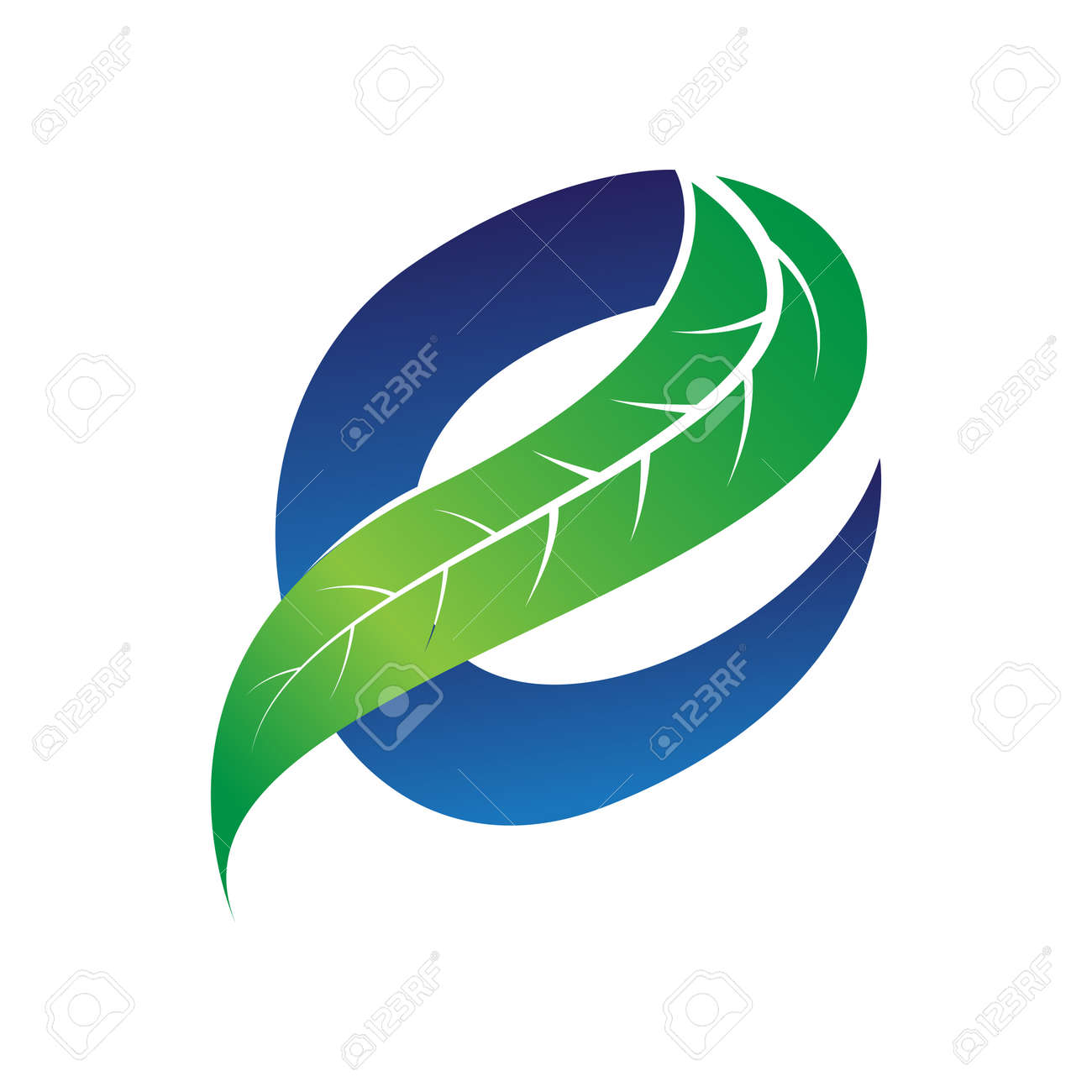 green and blue letter e for eco companies with leaf illustration - 158035809