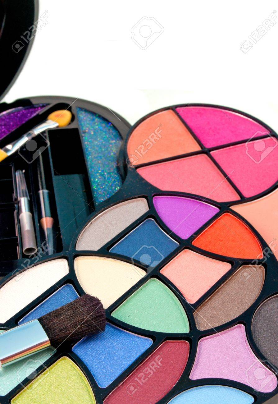 close up of multicolored eyeshadow kit Stock Photo - 14753700