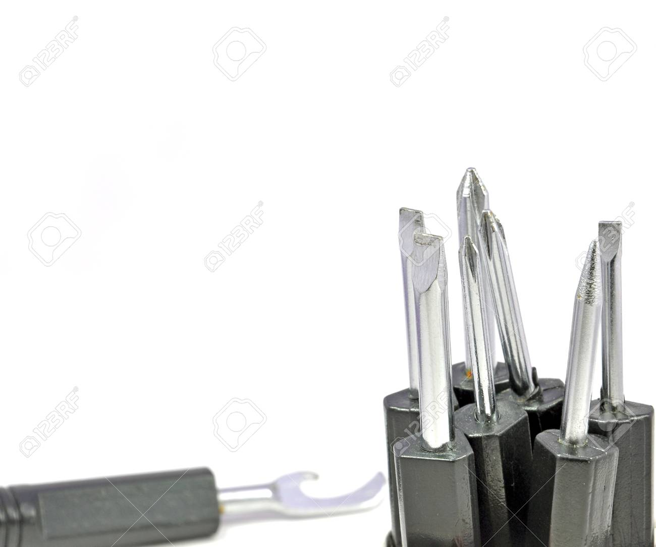 close up of set of screw driver arranged on white Stock Photo - 16825195