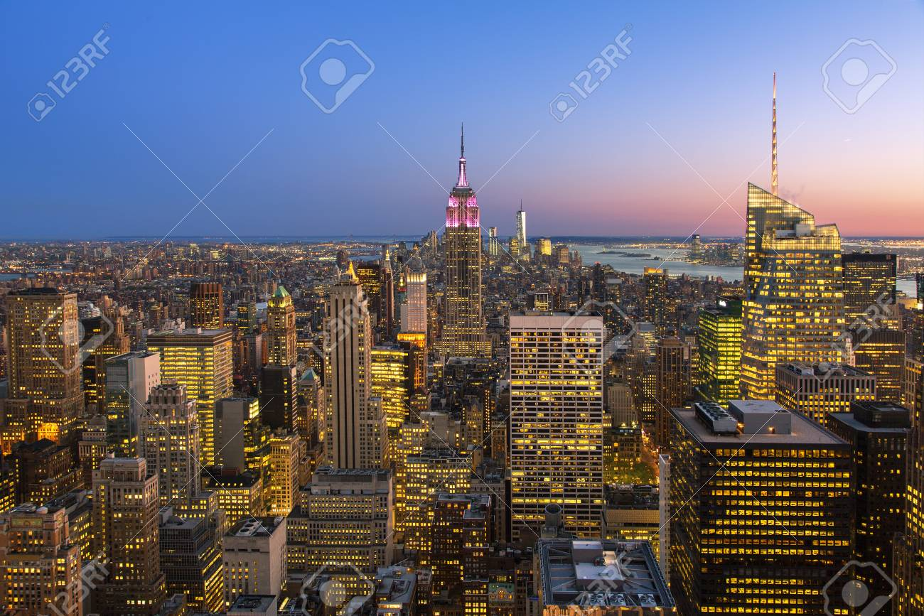 New york city skyline with Empire State Building, View from the Rockefeller Center viewing platform 'Top of the Rock' - 133577928