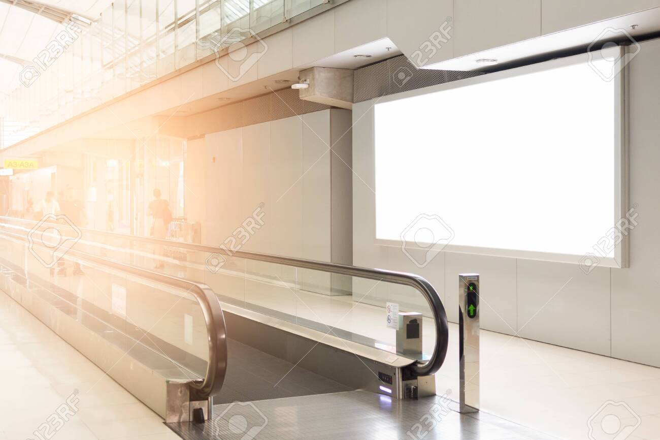 beautiful blank advertising billboard at airport background large LCD advertisement - 123513161