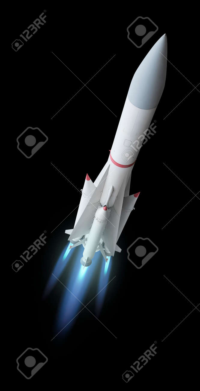 Flying multistage space rocket or anti-aircraft air defense missile with fire trail. Isolated over the black background - 155674038