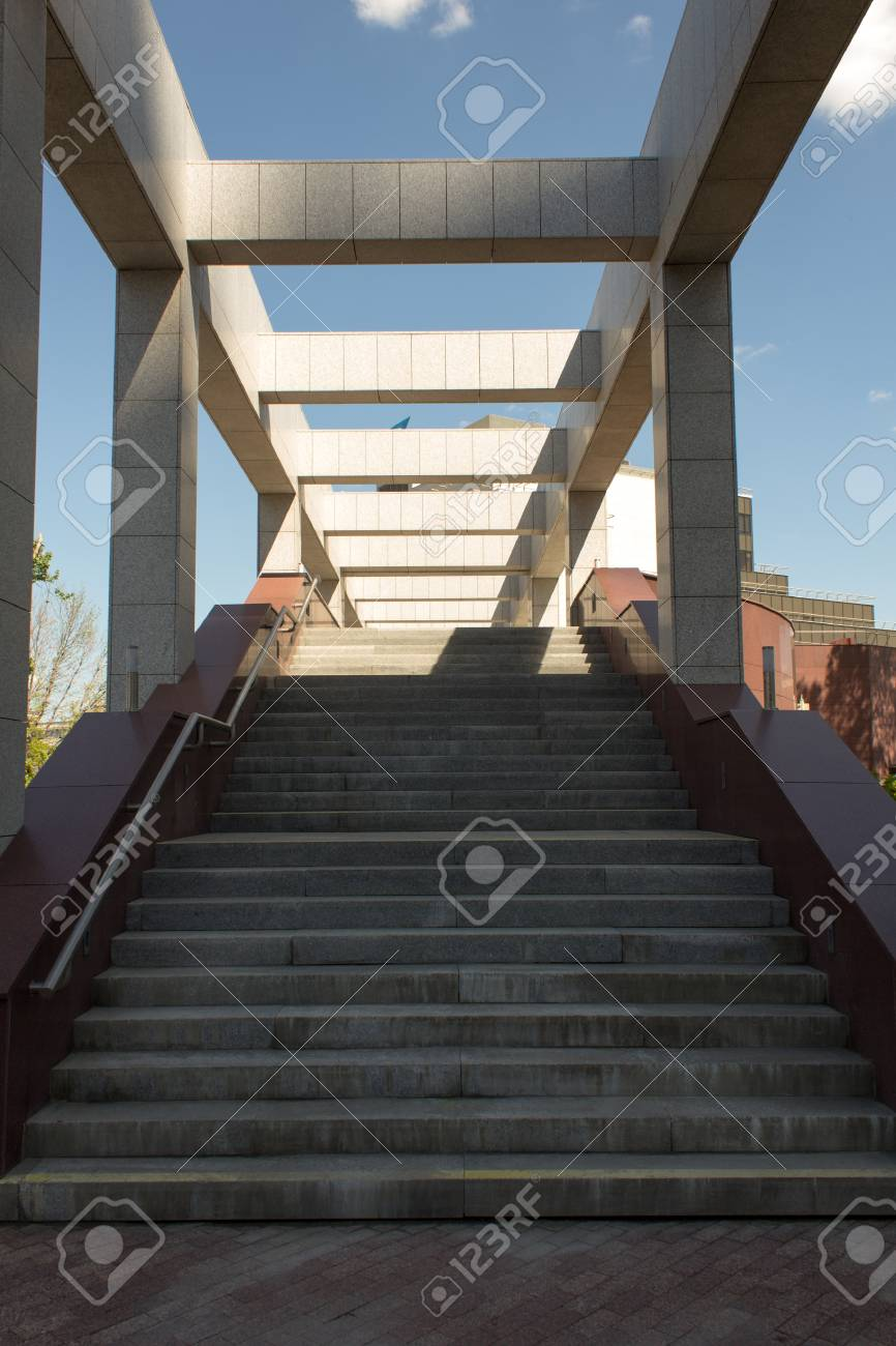 Staircase With Columns, Disappearing Into The Sky, Beautiful Architecture  Stock Photo   41799094