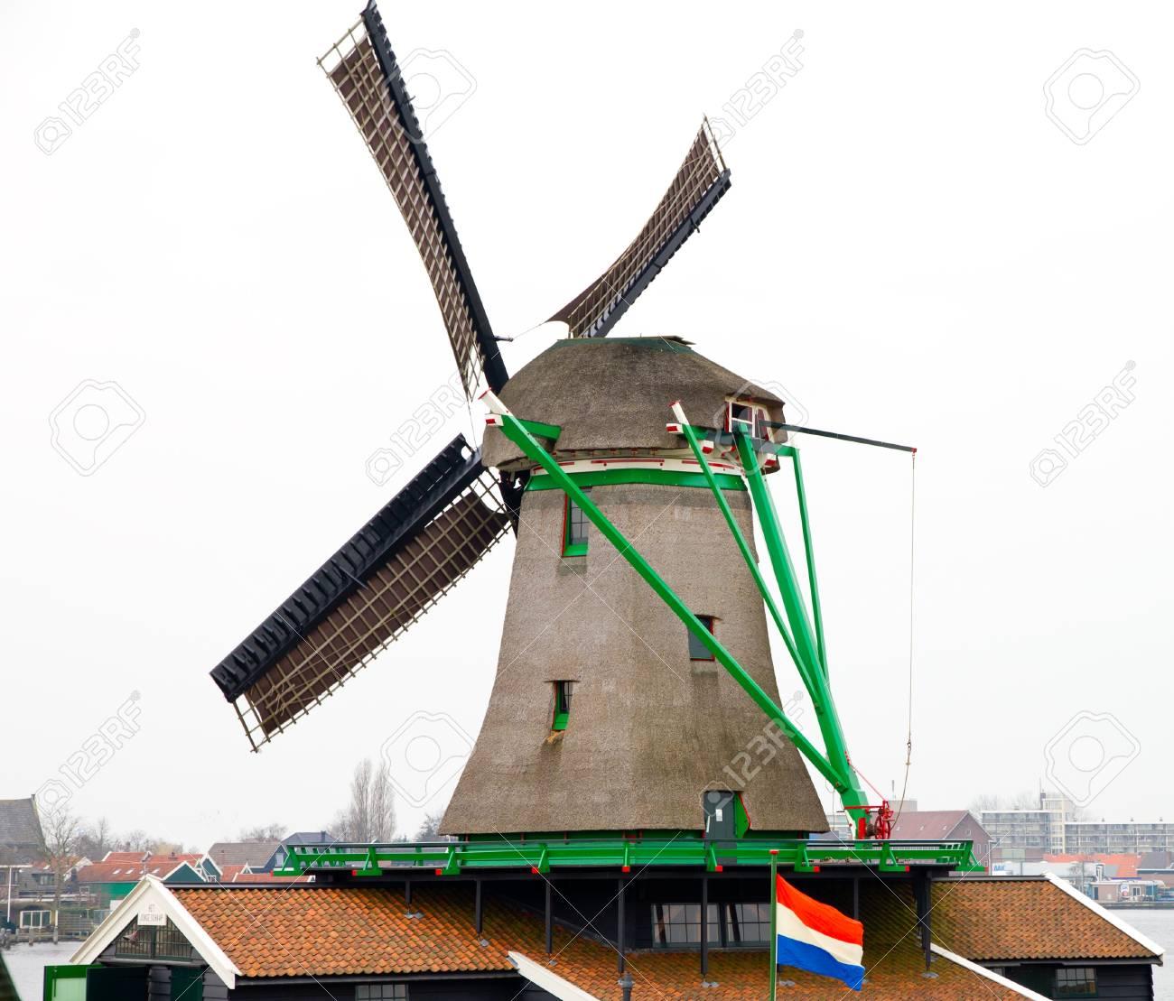 Windmill closeup at zaanse schans Stock Photo - 13228868