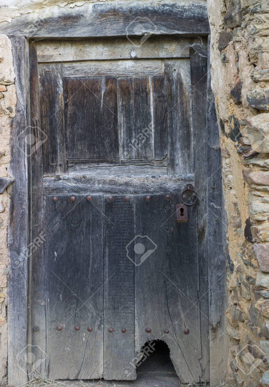 Entire Old Wooden Door With Cathole (cat Flap) Stock Photo   35505846