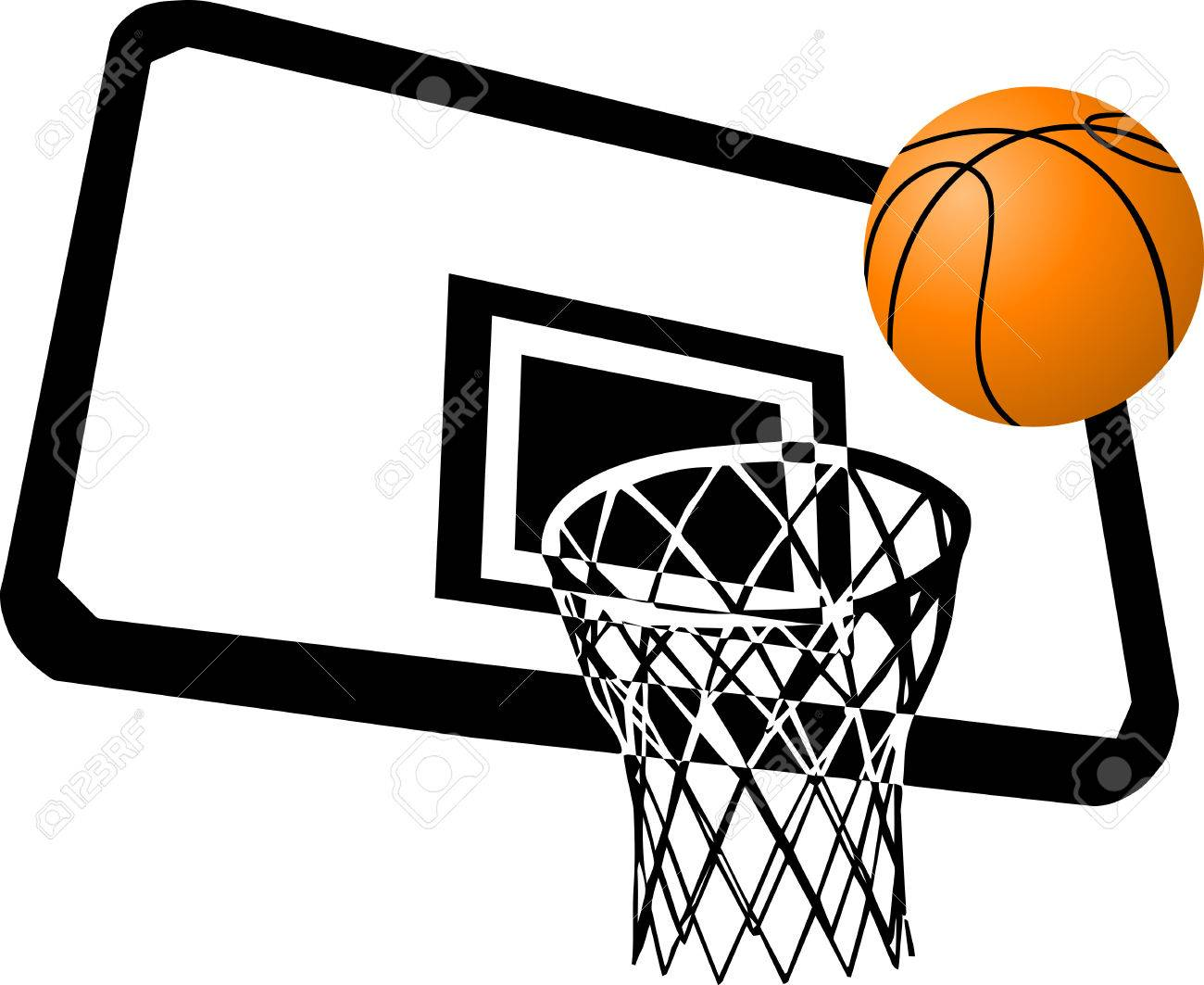 The basketball player throws a ball in a basket Stock Vector - 5341620