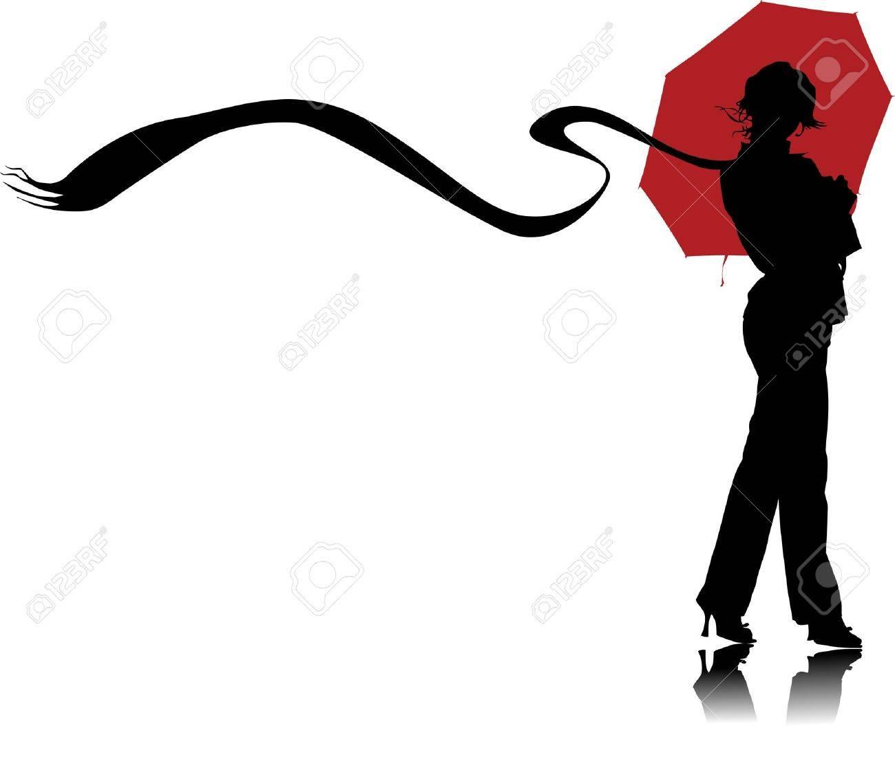 Vector graphic woman with umbrellas Stock Vector - 5968285