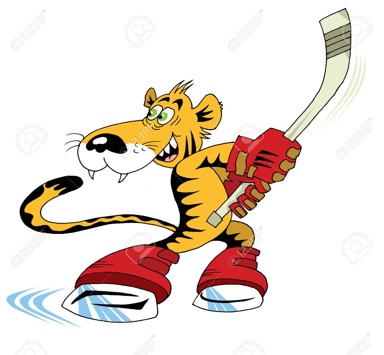 tiger cub playing hockey Stock Vector - 6132010