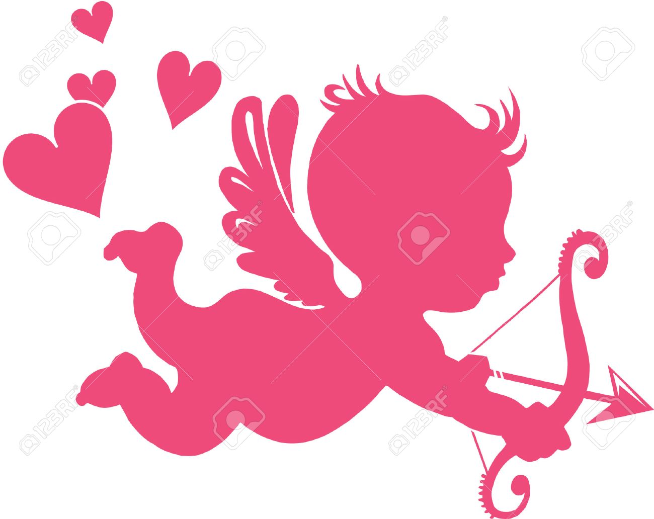 Happy Cupid with bow and arrow - vector illustration; - 6274613