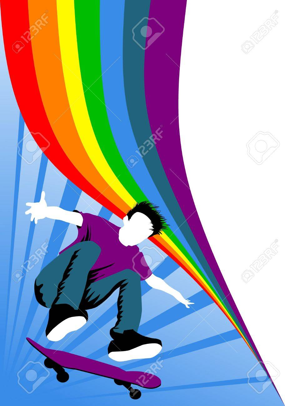 Teen makes a jump on a skateboard on the background of the rainbow; Stock Vector - 7420700