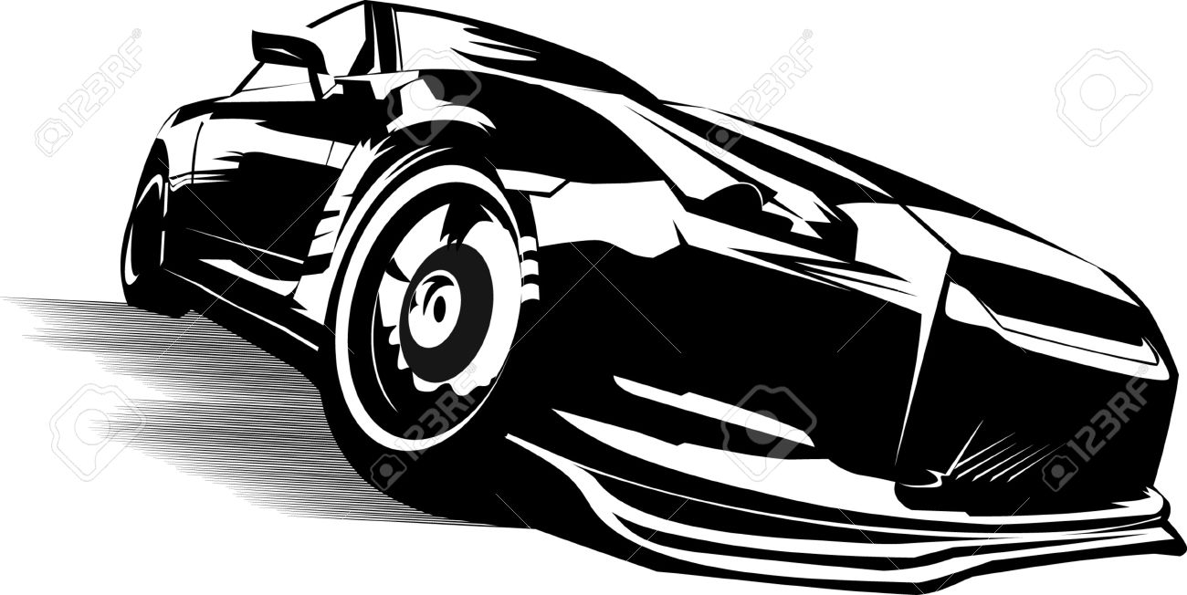 Black sports car ready to start racing on the track; Stock Vector - 7596731