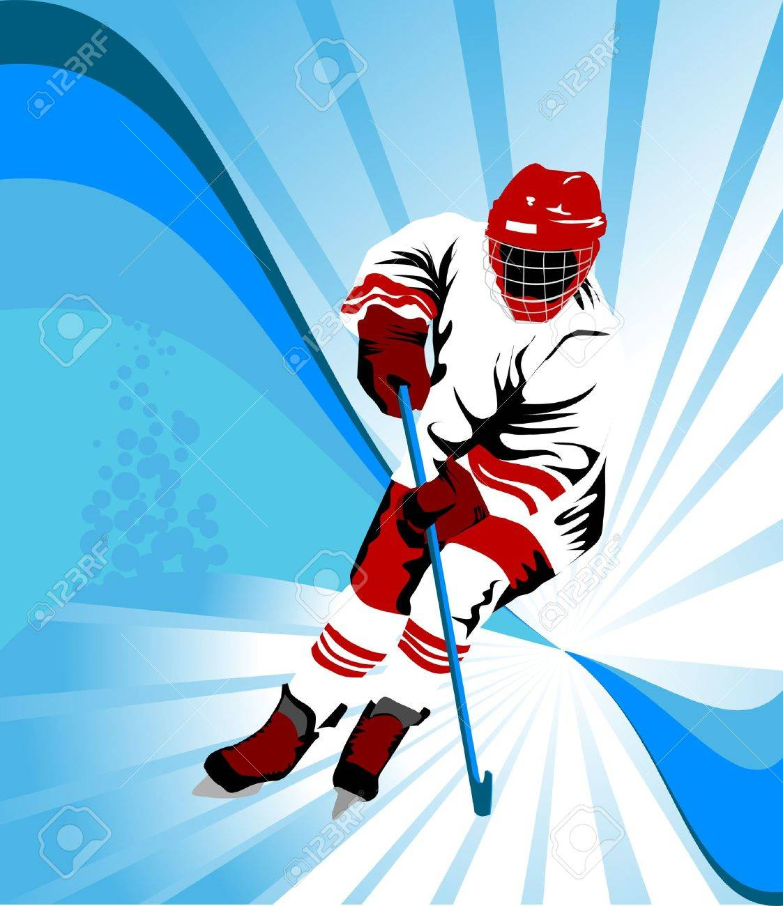 Hockey player makes a strong shot on goal rival; Stock Vector - 7664290