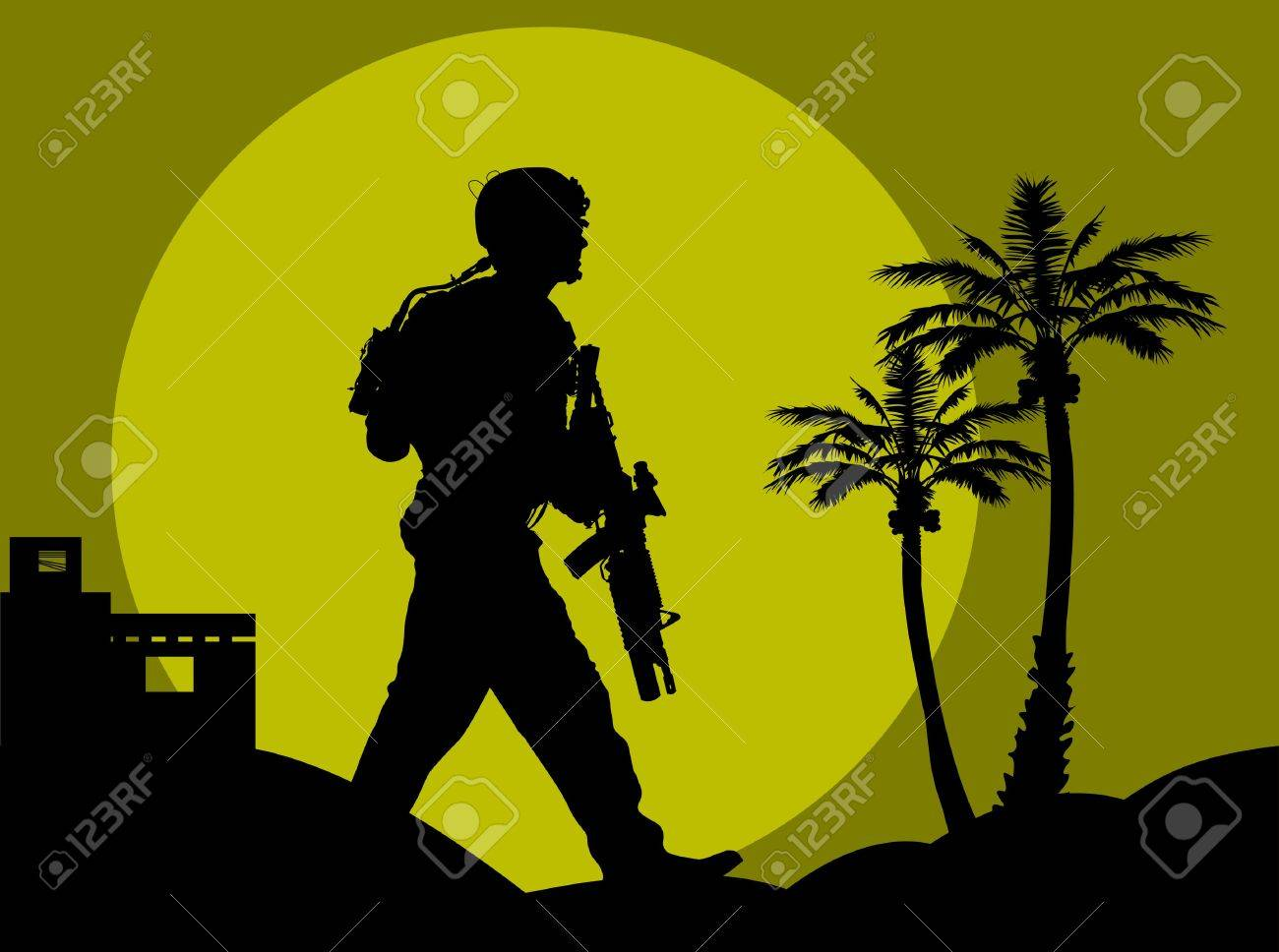 soldier goes on a night reconnaissance in the desert; Stock Vector - 7789280