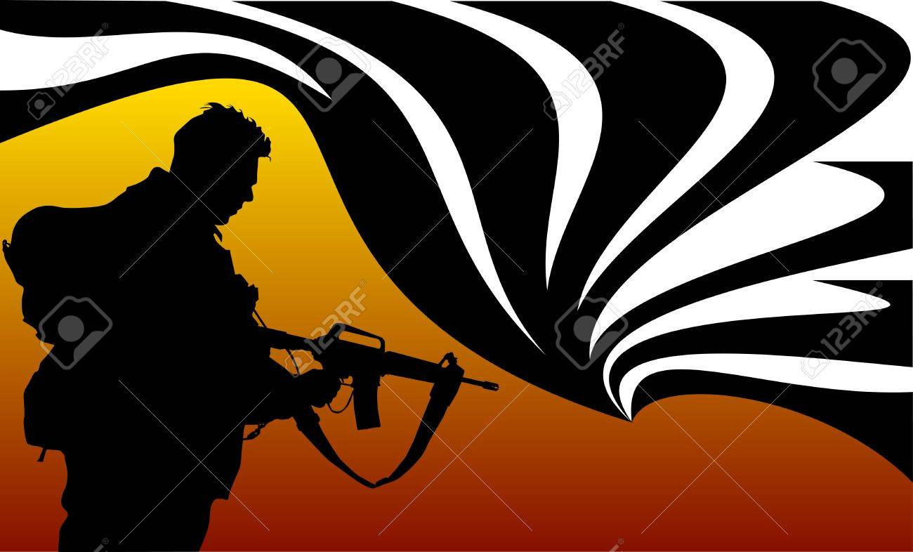 soldier goes on a night reconnaissance in the desert; Stock Vector - 7789281