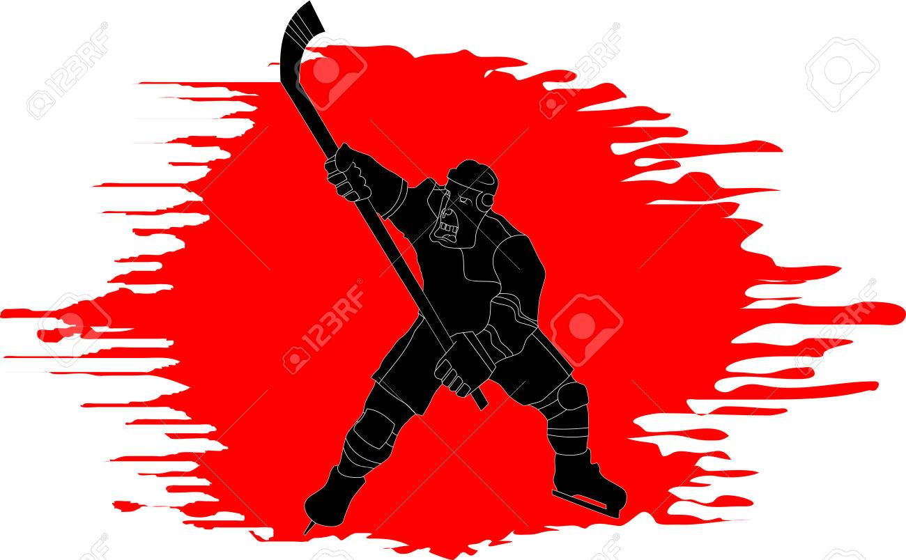 Hockey player makes a strong shot on goal rival; Stock Vector - 8089442