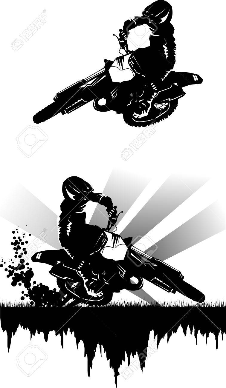 A silhouette of a motorcycle racer commits high jump; Stock Vector - 8402473