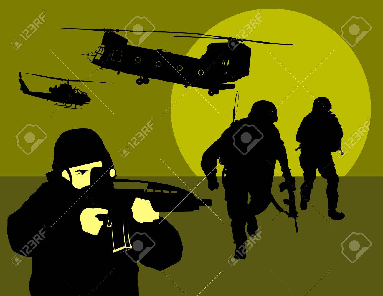 soldier goes on a night reconnaissance in the desert Stock Vector - 8558460